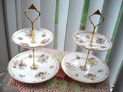 A Lovely Pair Of 2 Tier Cake Stands....english Vintage Bone China