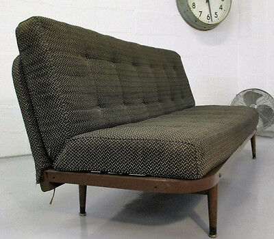 Vintage Rare Early Retro Mid Century 50S Metal Fabric Day Bed Settee/sofa