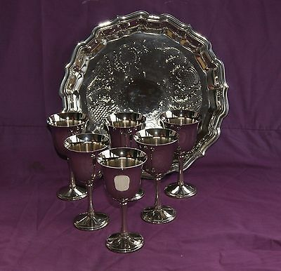 Beautiful Vintage Silver Plated Wine Goblets Set Of 6 & Silver Plate Drinks Tray