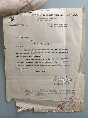 1917 New York Ontario and Western Railway Company Letter