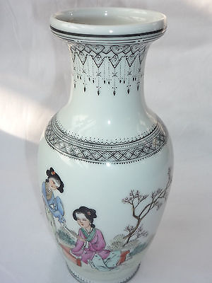 Antique/Old Chinese Porcelain Hand Painted & Calligraphy Writing Vase with Marks