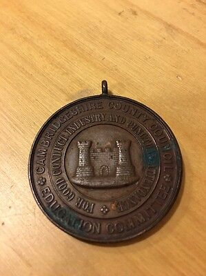 Cambridgeshire County Council Education Committee School Attendance Medal 1907