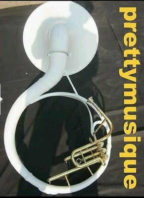 Sousaphone In White Made Of Pure Brass Metal Just Used Once & Fuly Functional