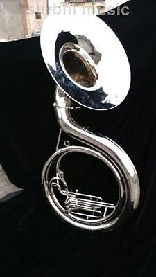 "Sousaphone 22"" Silver Chrome Nickle 3 Valve Sousaphone With Case Box & Mouth Pc"