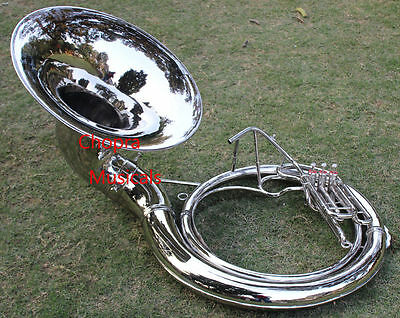 "Lagest Size Sousaphone-25"" Bell 3Valve 100% BRASS Chrome Bag n M/P Free 091215"