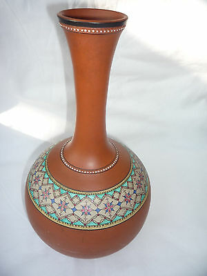 Antique/Old Chinese Brown Clay Hand Painted Colour Flower Pattern Vase