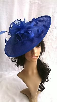 Royal Blue Feather Fascinator..Hatinator shaped disc Wedding.races.new