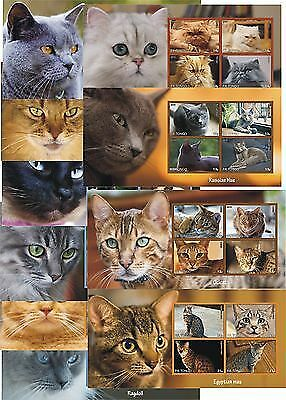 Cats Cat 10 Souvenir Sheets Mnh Imperforated