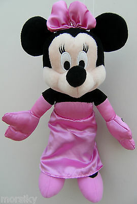 """Disney Pink 12"""" MINNIE MOUSE In Evening Dress Soft Plush Toy"""