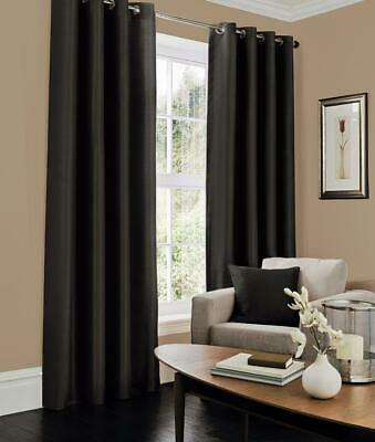 NEW Aubergine Purple Eyelet Fully Lined Faux Silk Curtains with Tie Backs