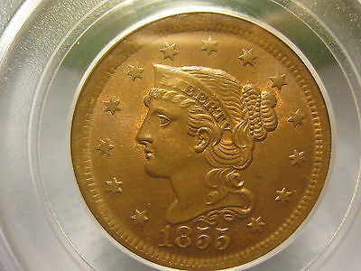 1855 Braided Hair Large Cent PCGS Graded MS 64 RB (GEM Red Brown 1C)