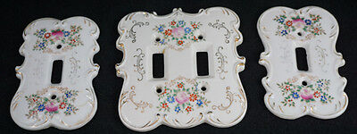 Vintage Original Arnart Creation Japan #7310 Porcelain Switch Plate Covers Set 3