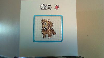 Cute Puppy Dog Large Completed Cross Stitch Birthday Card And Envelope