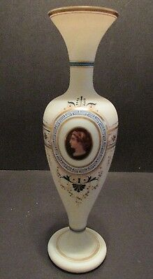 Antique Bristol Glass Portrait Vase Hand Painted Gilt Enameled White Satin Glass
