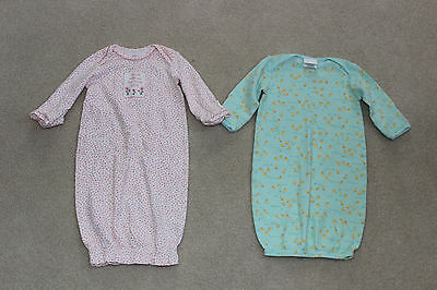 2 baby girl sleeper gowns 0-3M / 0-3 months