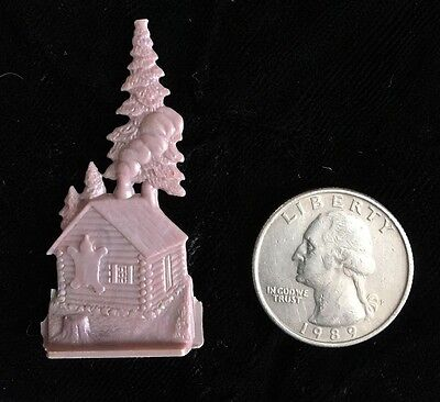 Cracker Jack Plastic Flat Stand Up Toy Prize 40's Purple Log Cabin Nosco