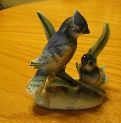 Blue Jay Mother & Baby Figurine  Porcelain Made in Japan