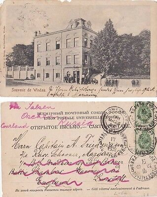 Russia 1902 ppc Windau sent to Lowerstoft, England and return {Below}