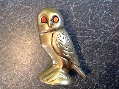 Vintage Brass Owl with Orange Glass Eyes Figurine Ornament