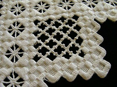 """WOW Antique Norwegian Hardanger Linen Tablecloth 39"""" Hand Embroidered Topper"""