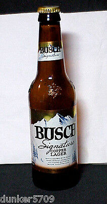 Busch Signature Copper Lager Beer 12 Ounce Glass Bottle 2014 Anheuser Empty