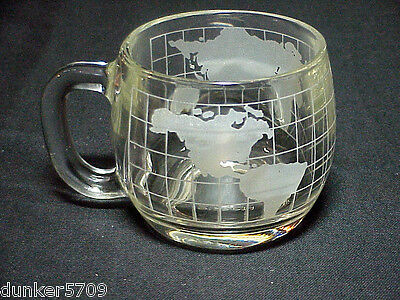 One Etched World Glass Coffee Cup Nescafe Advertising 3 Inches High