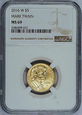 2016 - W $5 Gold - Mark Twain Commemorative - NGC MS 69