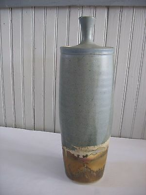 """Stoneware Art Studio Pottery Signed 16"""" tall covered jar Blues Browns"""