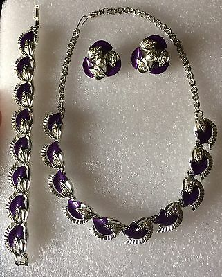 Vintage Thermoset Purple Lucite Aurora Borealis Necklace Bracelet Earring Set