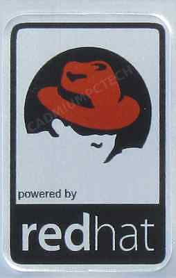 powered by Red Hat Linux Aluminium Metal Decal Sticker Computer PC Laptop Badge