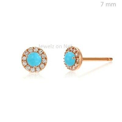 14k Rose Gold Diamond Pave Turquoise Gemstone Stud Earrings Fashion Fine Jewelry