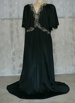 Vintage Black Lacy Nylon Nightgown---Bust To 46""