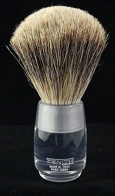 Zenith Clear Resin Handle Best Badger Shave Brush. 24.5mm Knot. Made in Italy.T2