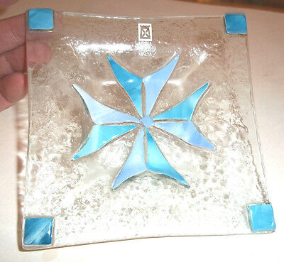 Pretty Handmade Mdina Glass Dish With Flower Centre- original label