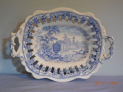 "Transferware Light Blue Reticulated 11 1/2"" Handled Dish"