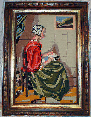 """Vintage Framed Needlepoint Picture """"Woman Doing Embroidery Work"""""""