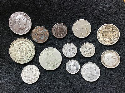 Vintage Lot Of 13 Tokens And Foreign Coins
