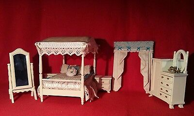 LUXURY CREAM BEDROOM SET with touch of BLUE 1:12 scale