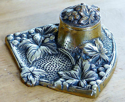 Antique Brass Inkwell Decorated with Grapes & Vine Leaves
