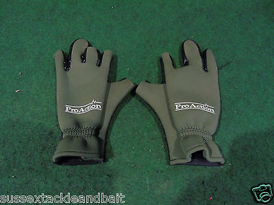 proaction neoprene fingerless gloves used carp match course fishing tackle gear