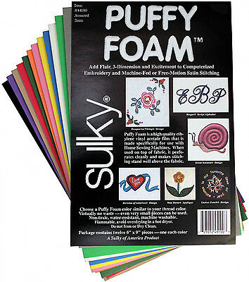 "Sulky Puffy Foam Assorted Color 12 sheets 6"" x 9""; 2mm Craft, Embroidery, Sewing"