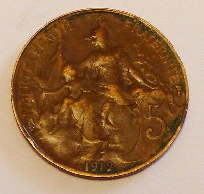 1912 French 5 Centimes Coin (Ref 84)