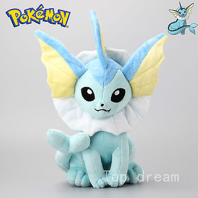 "Vaporeon Pokemon Plush Soft Toy Character Stuffed Animal Doll Teddy Sitting 7"" S"