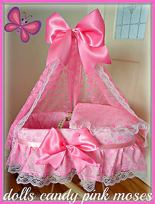 CCP,New Handmade Dolls Baby Pink Lacy Moses basket + Stand Crib Bassinette Toy