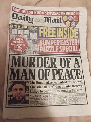 Daily Mail newspaper Easter 2016 used
