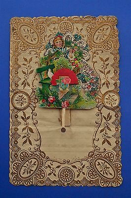 Santino Holy Card Canivet Manufatto Collage lettera Natale S. Nicola 1929 pop up