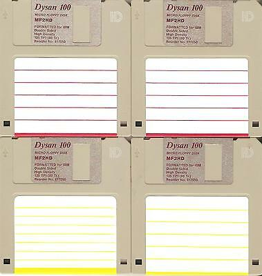 "4 – HD 1.44 MB Floppy Diskettes (disks) 3.5"" – 3 ½"" used – Dysan - formatted"