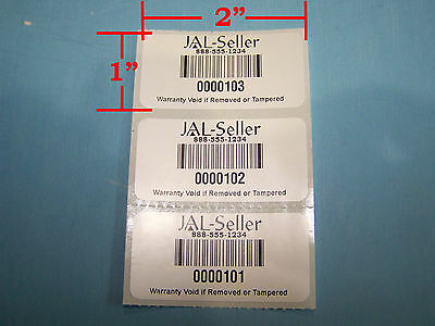 250 2 x 1 white polyester custom printed asset tracking labels id