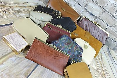 Vintage Job Lot 12 Various Coin Purses Leather Vinyl Tapestry 1 Compact As Is