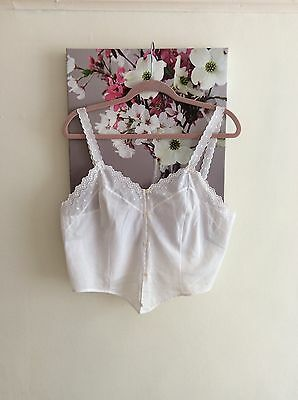 Vintage Ivory Embroidered Cotton Camisole Top, UK Size 16 18 Immaculate
